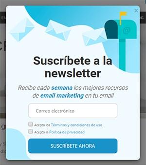 Formulario suscripción newsletter web