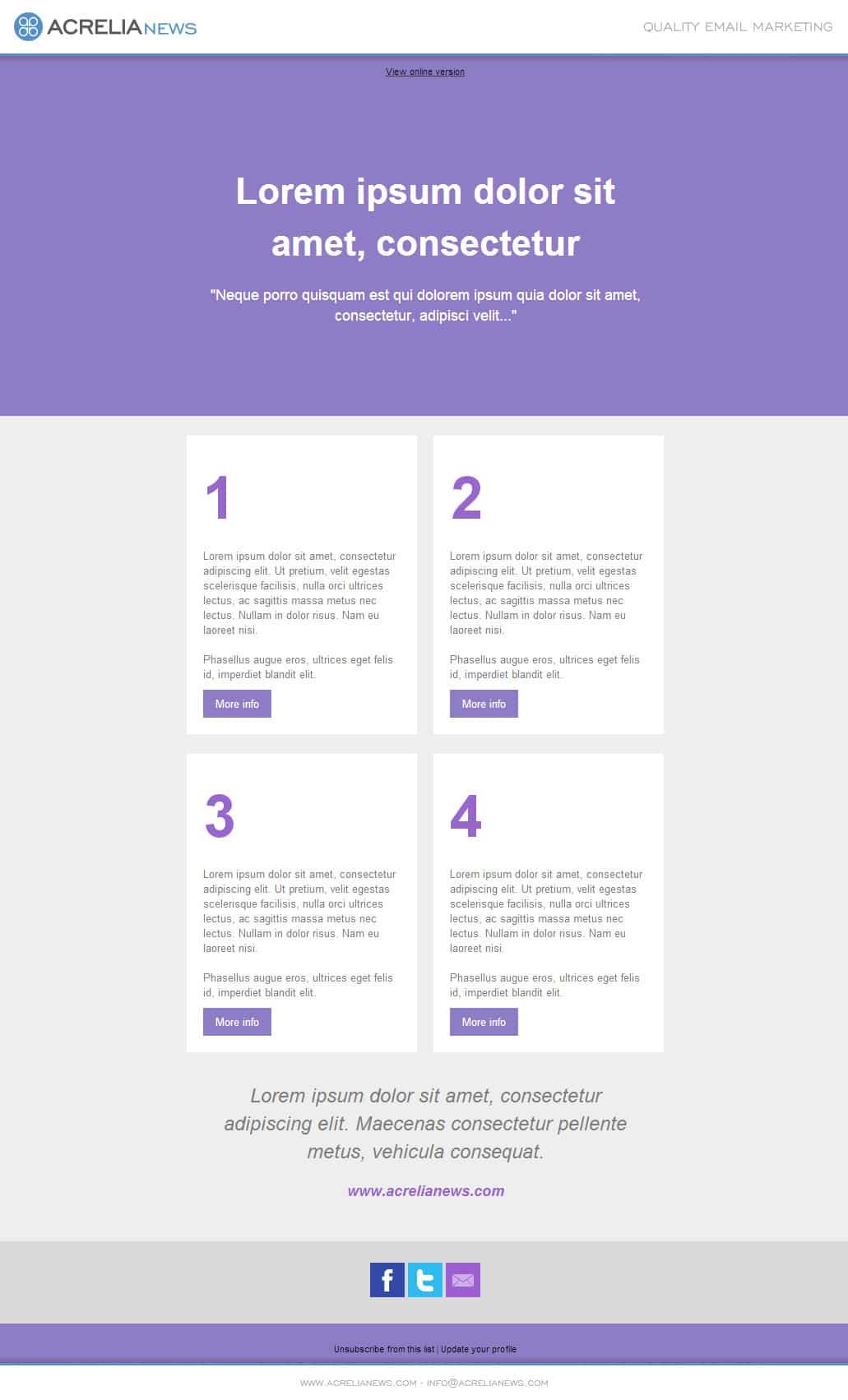 Plantilla de email responsive: Four Steps