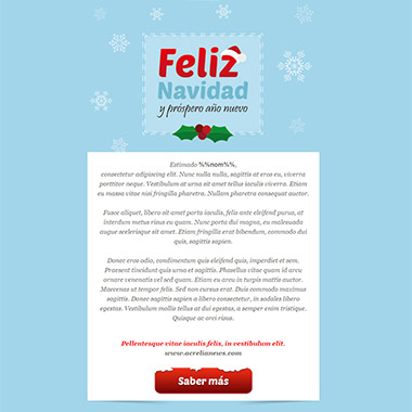 Email template postcard: Merry Christmas Blue