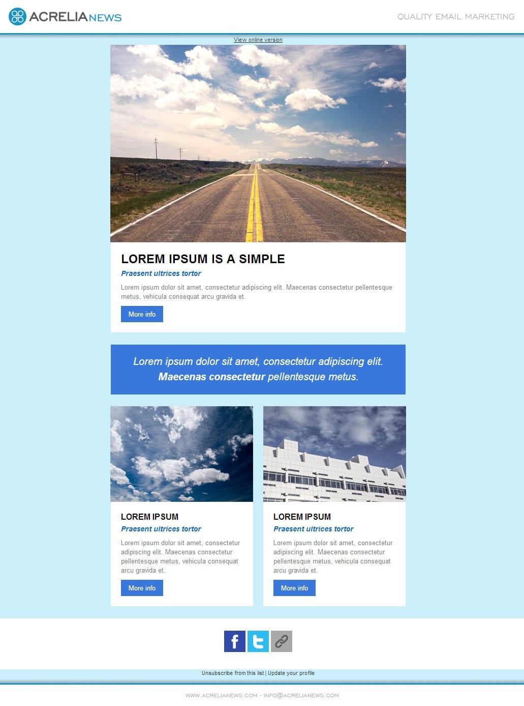Plantilla de email responsive: Clouds