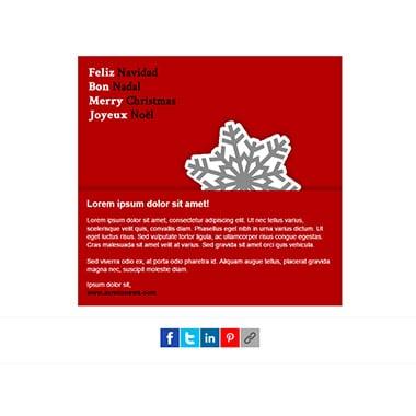 Christmas postcard template email: Snowflake