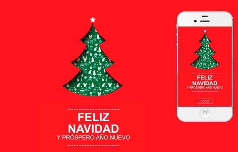 Plantilla de postal de Nadal - Happy Christmas Tree
