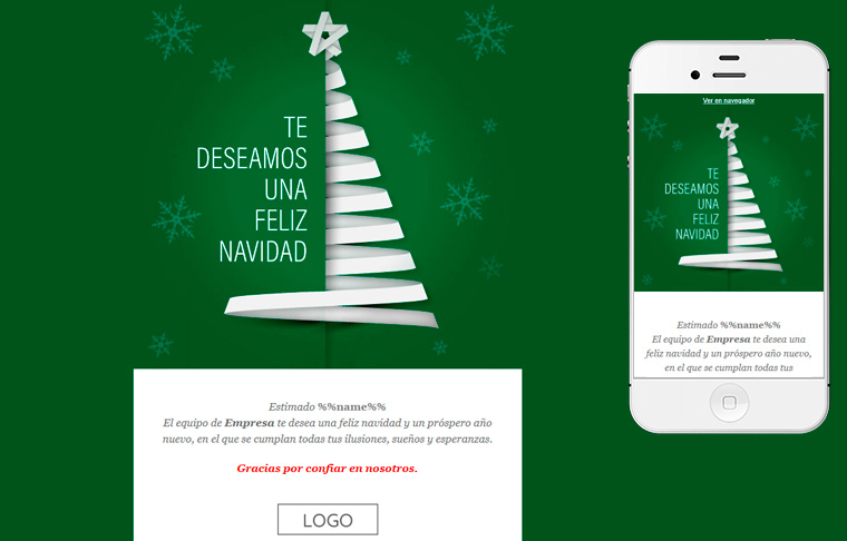 Plantilla de postal de Nadal - Green Christmas Tree