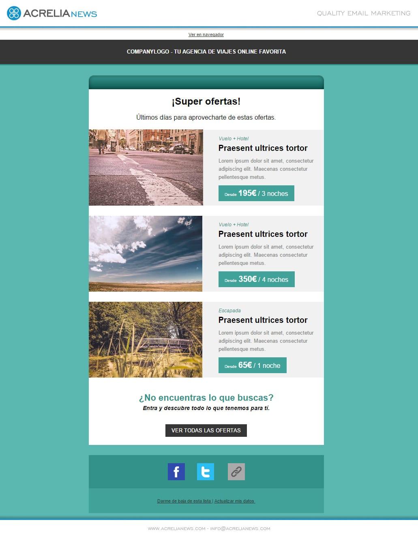 Plantilla de email responsive: Travels offers