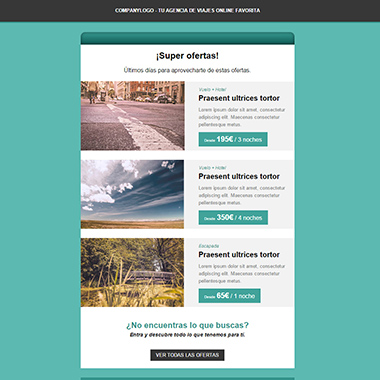 Plantilla de email responsive: Travels offers
