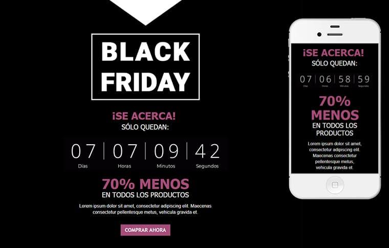 Plantilla de mailing - Black Friday Cuenta Atrás