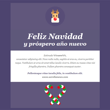 Email template postcard: Merry Christmas violet
