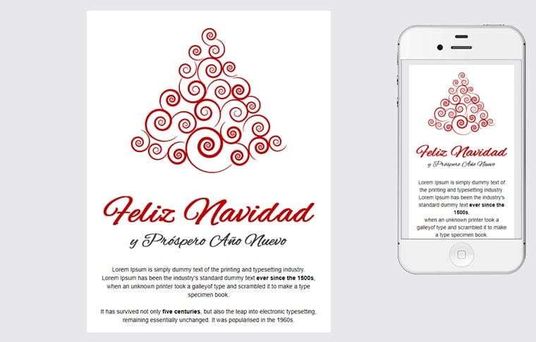 Plantilla de postal de Nadal - Christmas Red Tree