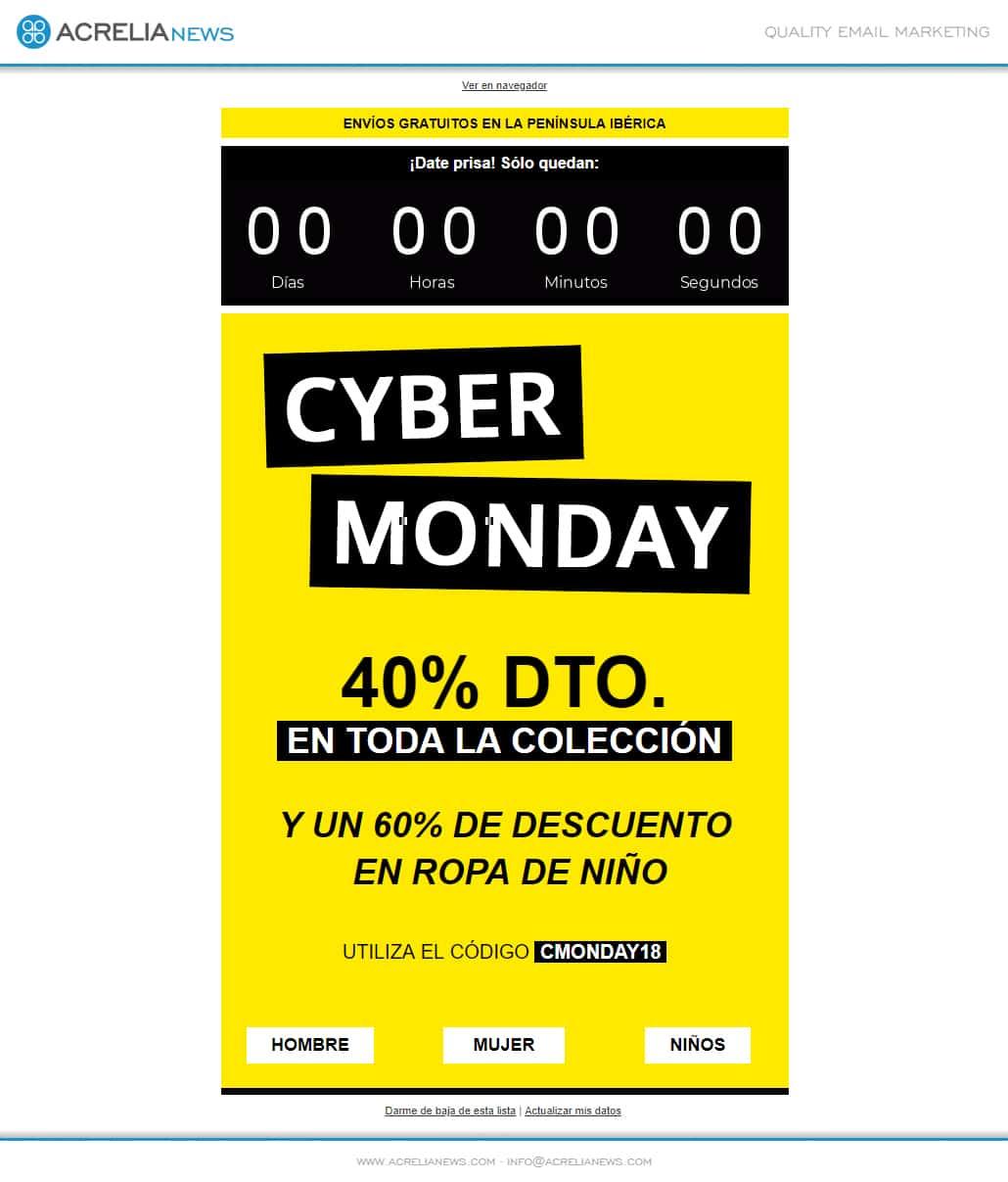 Plantilla de email responsive: Cyber Monday