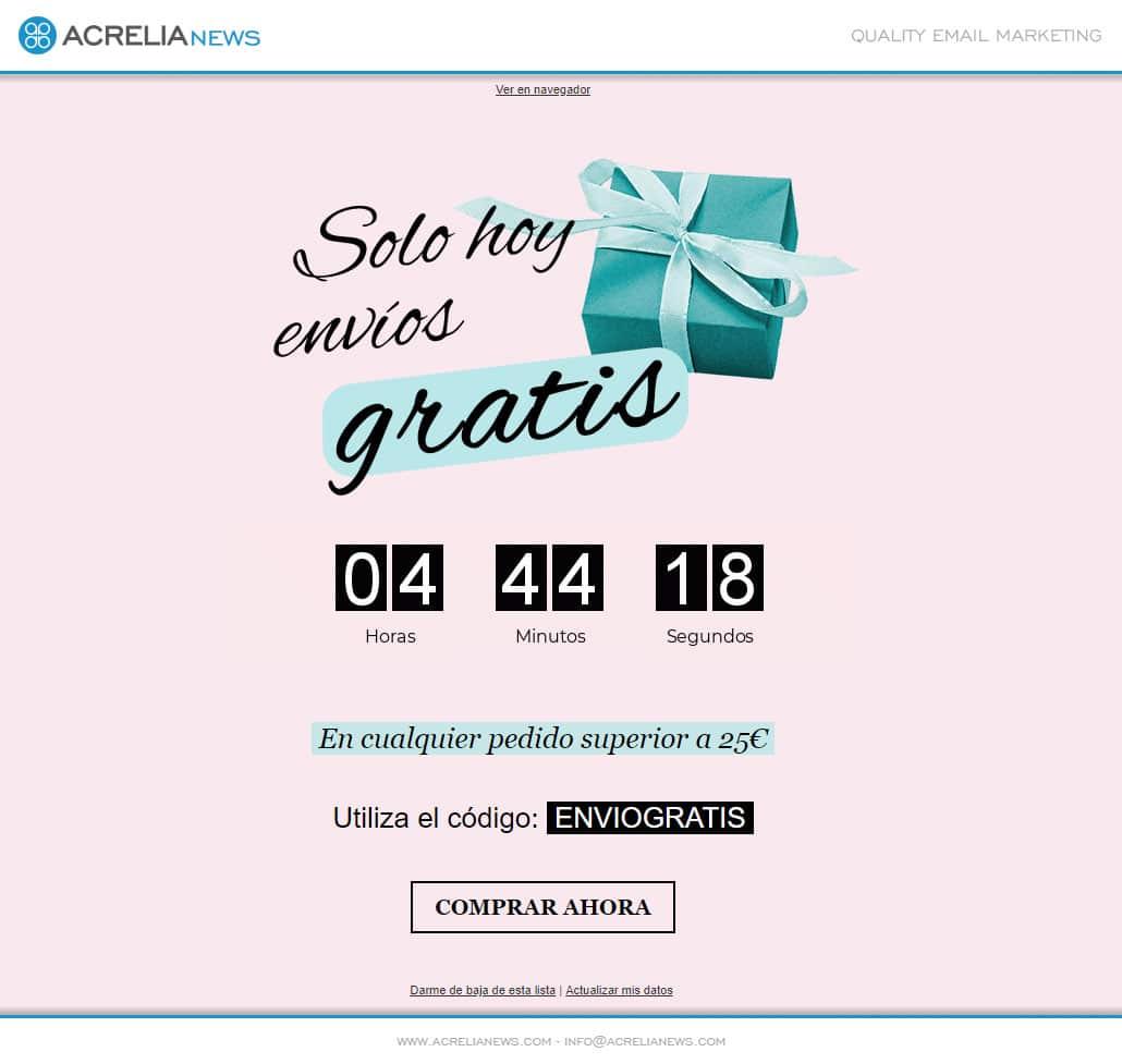 Plantilla de email responsive: Envíos gratis
