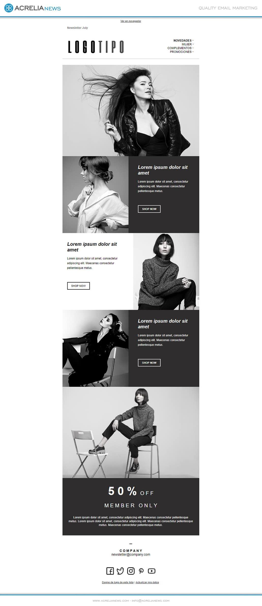 Plantilla de email responsive: Fashion Ecommerce