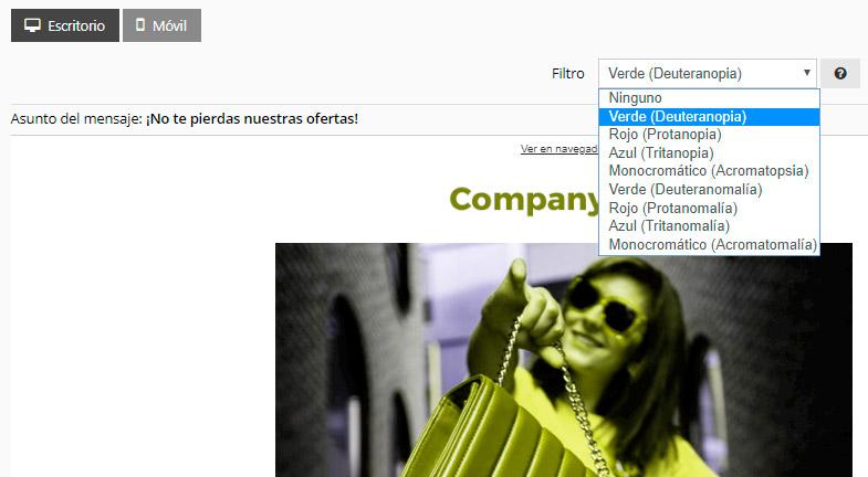 Acrelia News filtro simular newsletter daltonismo
