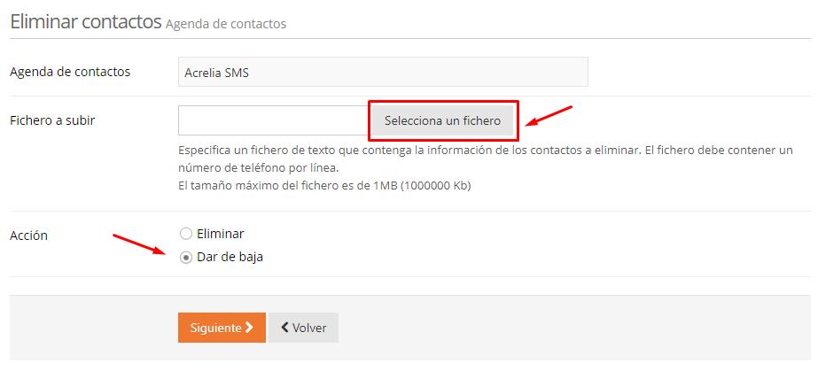 Acrelia SMS - Seleccionar fichero