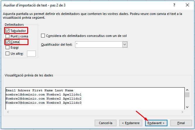 Auxiliar d'importació de text pas 2 de 3