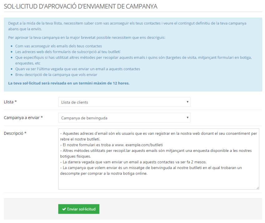 Sol·licitud d'aprovació d'enviament de campanya