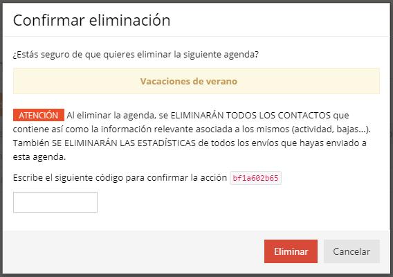 Acrelia SMS - confirmación eliminación agenda