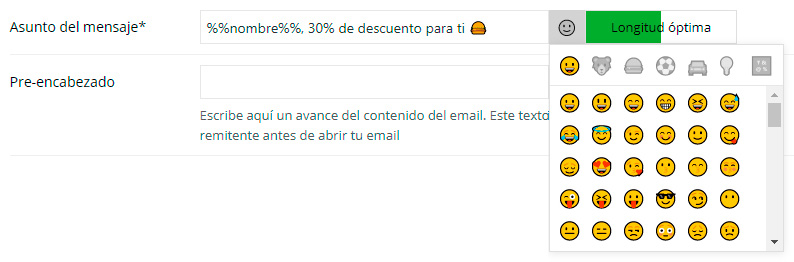 símbolos o emoticonos en el asunto del mensaje de email
