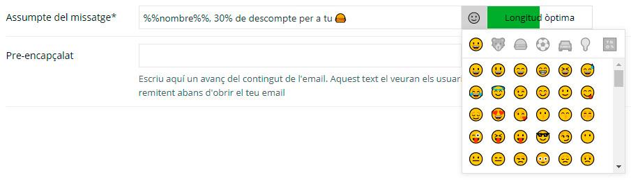simbols o emoticones en el assumpte del missatge de email