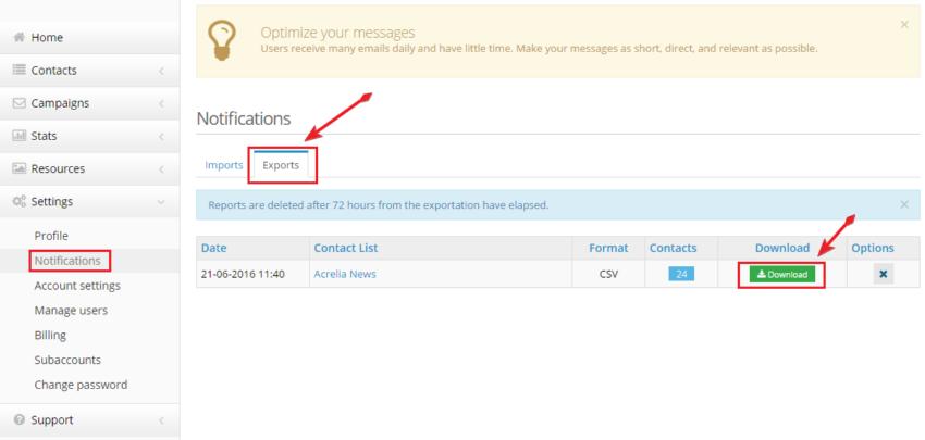 download the CSV file or XML