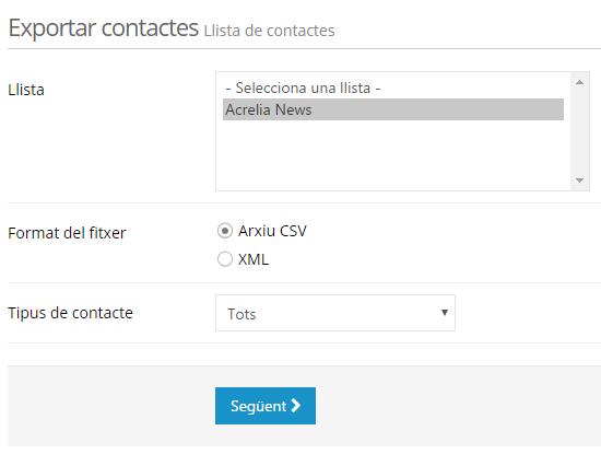 Exportar llista de contactes