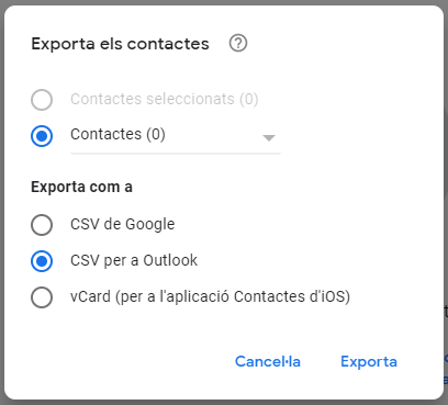 exporta contactes