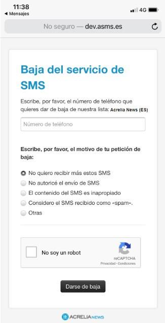 Acrelia News - Formulario de baja del servicio de SMS