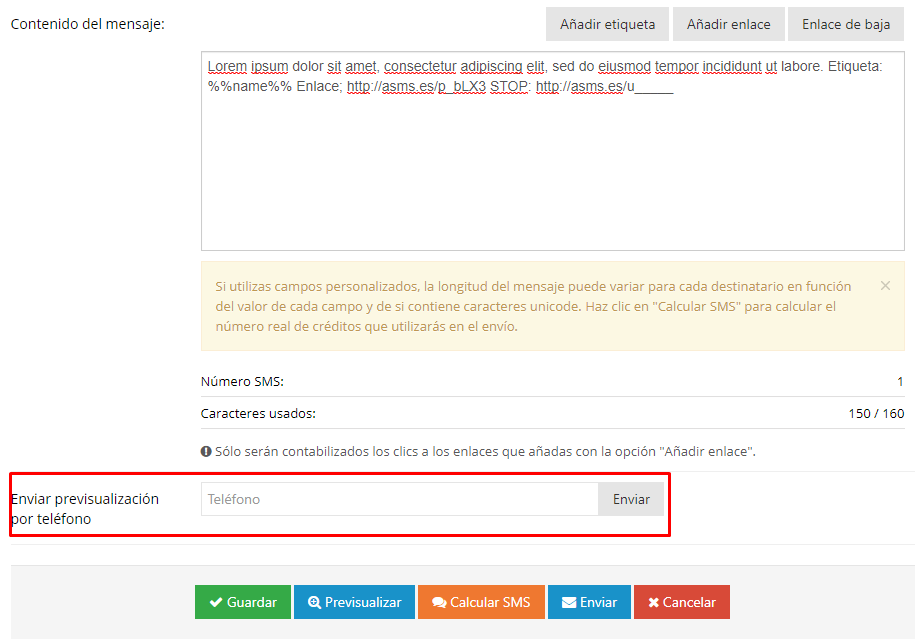 Acrelia SMS - Editor contenido mensaje