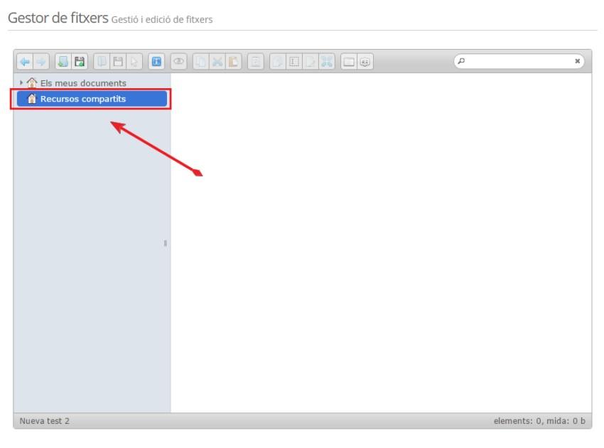 Gestor de fitxers - Recursos compartits