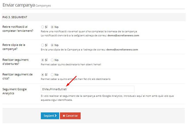 Seguiment per a Google Analytics