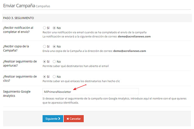Seguimiento para Google Analytics