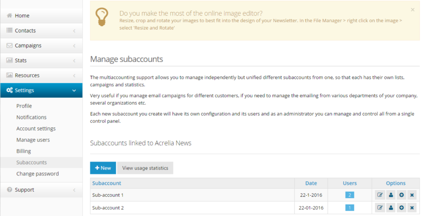 Multi-account function: How to create sub-accounts