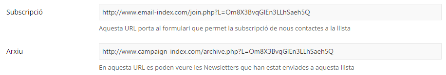 Compartir el Formulari de Subscripció i l'Arxiu de Newsletters