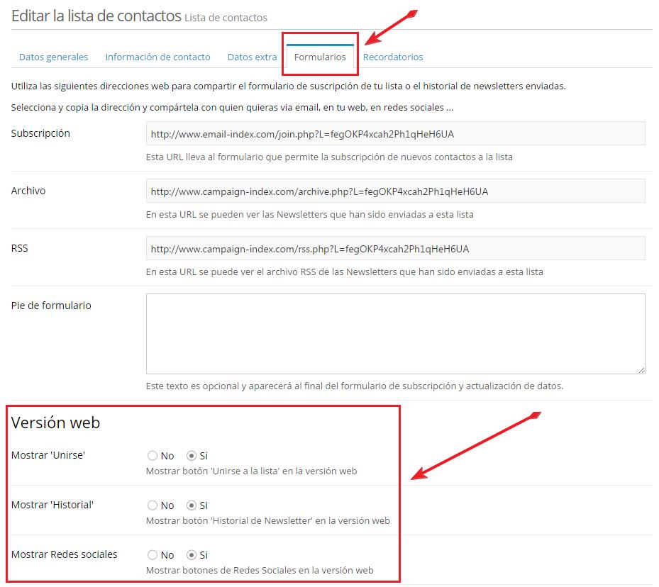 Editar configuración de la lista de contactos