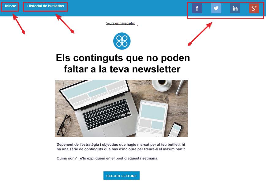 Personalitzar versió web de la newsletter