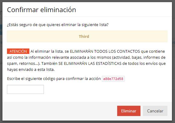 Confirmar eliminación lista de contactos