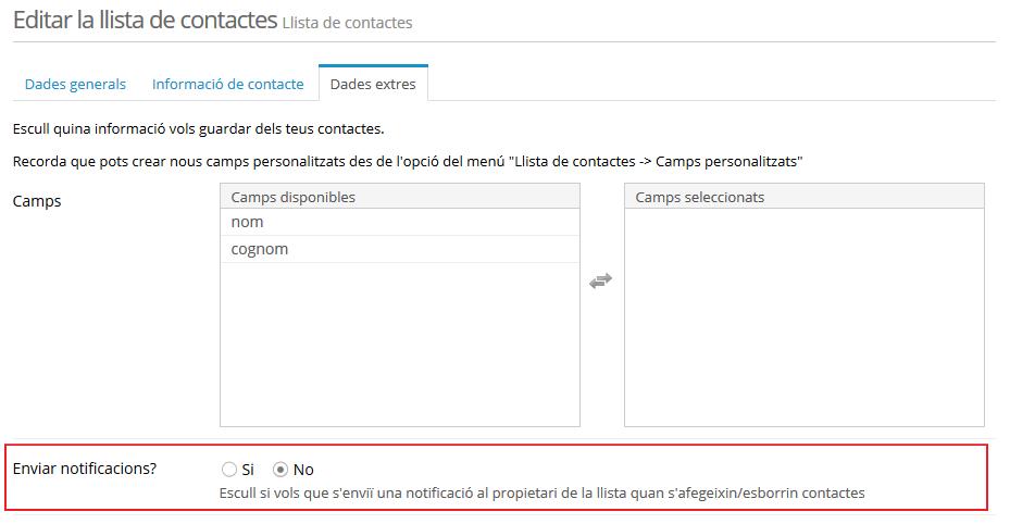Rebre notificacions - Editar la llista de contactes