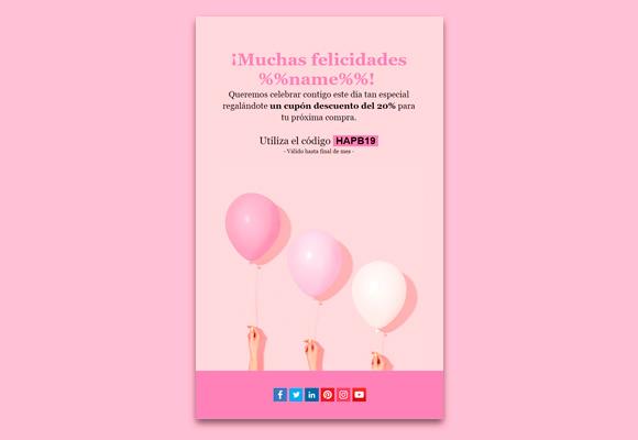 Plantilla de newsletter para felicitar un aniversario