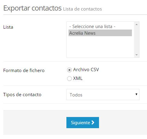 Exportar lista de contactos
