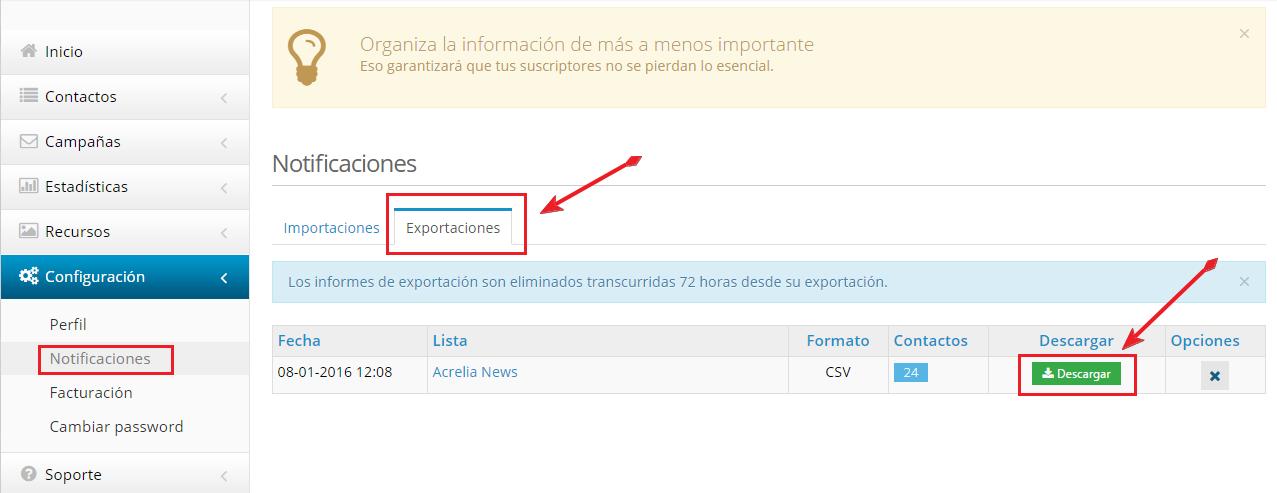 Descargar fichero de exportaciones